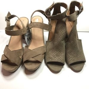 2 Pairs of Heels Size 11 Taupe / Tan Faux Suede